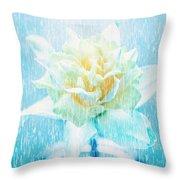 Daffodil Flower In Rain. Digital Art Throw Pillow
