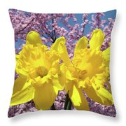 Daffodil Flowers Spring Pink Tree Blossoms Art Prints Baslee Troutman Throw Pillow