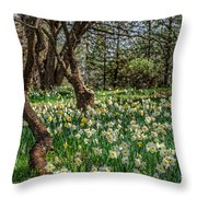 Daffodil Hill Gardens Throw Pillow