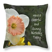 Daffodil Peach And Yellow Birthday  Throw Pillow