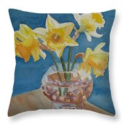 Daffodils And Marbles Throw Pillow