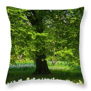 Daffodils And Narcissus Under Tree Throw Pillow