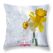 Daffodils And The Candle Throw Pillow