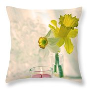 Daffodils And The Candle V3 Throw Pillow