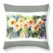 Daffodil's Dancing Throw Pillow
