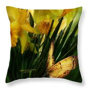 Daffodils - First Flower Of Spring Throw Pillow