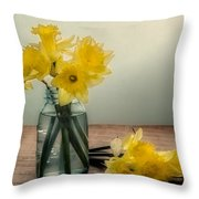 Daffodils In A Blue Jar Throw Pillow