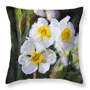 Daffodils In My Garden Throw Pillow