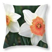 Daffodils Orange And White Throw Pillow