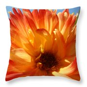 Dahlia Floral Orange Yellow Flower Botanical Art Prints Canvas Baslee Troutman Throw Pillow