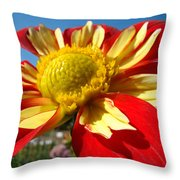 Dahlia Flower Art Prints Canvas Red Yellow Dahlias Baslee Troutman Throw Pillow