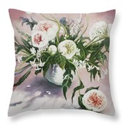 Dahlia Vase  Throw Pillow