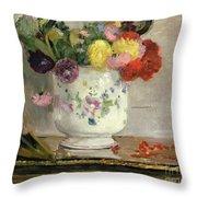 Dahlias Throw Pillow by Berthe Morisot