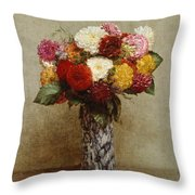 Dahlias In A Chinese Vase Throw Pillow