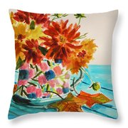 Dahlias In A Painted Cup Throw Pillow