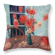 Dahlias With Red Cup Throw Pillow