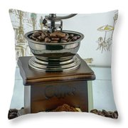 Daily Grind Coffee Beans Throw Pillow
