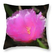 Dainty Pink Cactus Flower Throw Pillow