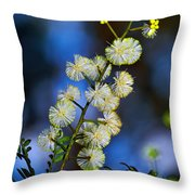 Dainty Wildflowers On Blue Bokeh By Kaye Menner Throw Pillow