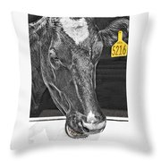 Dairy Cow Number 5216 Throw Pillow