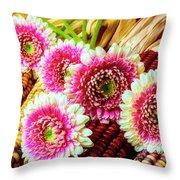 Daises On Indian Corn Throw Pillow