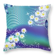 Daisies And Butterflies On Blue Background Throw Pillow