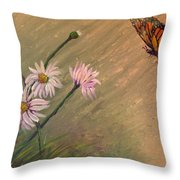 Daisies And Butterfly Throw Pillow