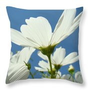 Daisies Floral Art Prints Canvas Daisy Flowers Blue Skies Throw Pillow