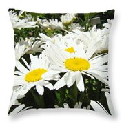 Daisies Floral Landscape Art Prints Daisy Flowers Baslee Troutman Throw Pillow