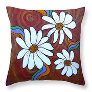 Daisies Gone Wild Throw Pillow