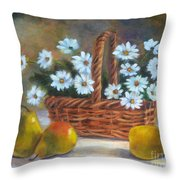 Daisies In Basket Throw Pillow