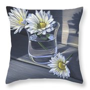 Daisies In Drinking Glass No. 2 Throw Pillow
