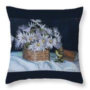 Daisies In Still Life Throw Pillow