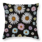 Daisies On Black Throw Pillow