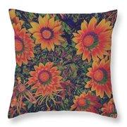 Pop Art Daisies Orange Throw Pillow