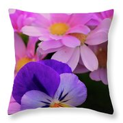Daisy And Pansy Throw Pillow