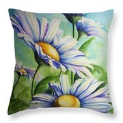 Daisy Blue Throw Pillow