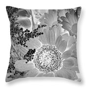 Daisy Bouquet In Black And White Throw Pillow