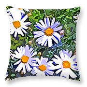 Daisy Flower Garden Abstract Throw Pillow