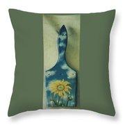Daisy Paint Brush Throw Pillow