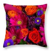Daisy Rose Bouquet Throw Pillow