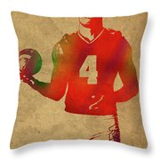 Dak Prescott Nfl Dallas Cowboys Quarterback Watercolor Portrait Throw Pillow