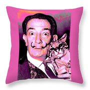 Dali With Ocelot And Cane Throw Pillow