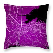 Dalian Street Map - Dalian China Road Map Art On A Purple Backgro Throw Pillow