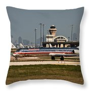 Dallas Airport And Skyline Throw Pillow