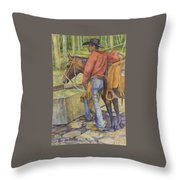 dallas and Rosco at the Holding Pasture Tank Throw Pillow