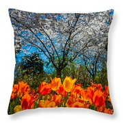 Dallas Arboretum Tulips And Cherries Throw Pillow