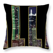 Dallas Letter Skyline 013018 Throw Pillow