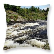 Dalles Rapids French River II Throw Pillow
