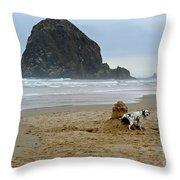Dalmatian Peeing On Sandcastle Throw Pillow